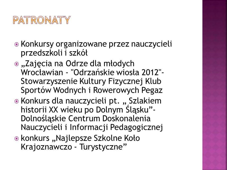 Konkursy organizowane przez nauczycieli przedszkoli i szkół Zajęcia na Odrze dla młodych Wrocławian -