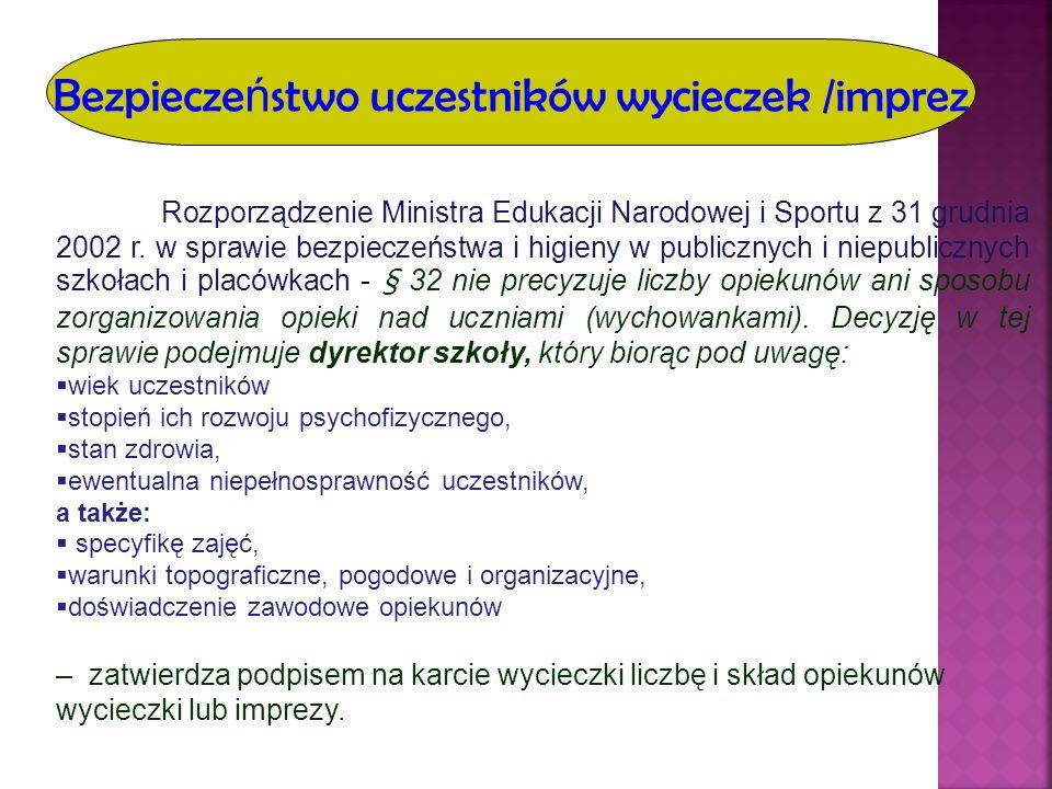 Bezpiecze ń stwo uczestników wycieczek /imprez Rozporządzenie Ministra Edukacji Narodowej i Sportu z 31 grudnia 2002 r. w sprawie bezpieczeństwa i hig