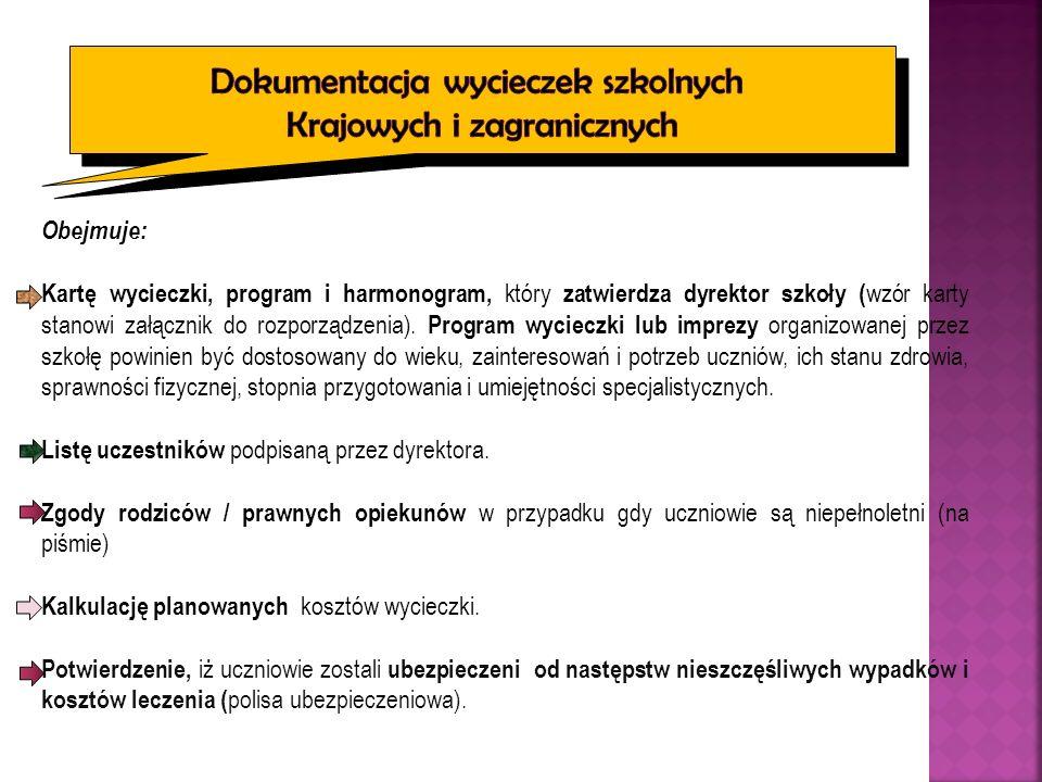 Obejmuje: Kartę wycieczki, program i harmonogram, który zatwierdza dyrektor szkoły ( wzór karty stanowi załącznik do rozporządzenia).