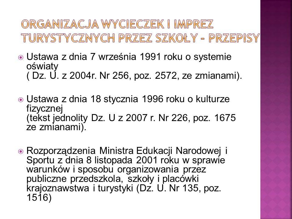 Ustawa z dnia 7 września 1991 roku o systemie oświaty ( Dz. U. z 2004r. Nr 256, poz. 2572, ze zmianami). Ustawa z dnia 18 stycznia 1996 roku o kulturz