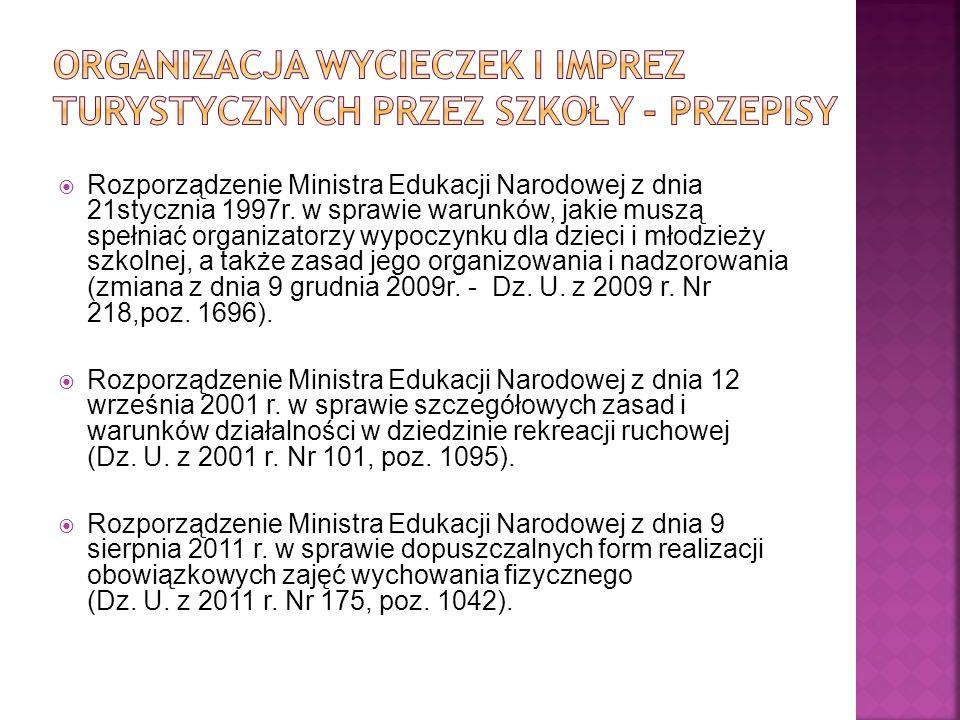 Rozporządzenie Ministra Edukacji Narodowej z dnia 21stycznia 1997r. w sprawie warunków, jakie muszą spełniać organizatorzy wypoczynku dla dzieci i mło