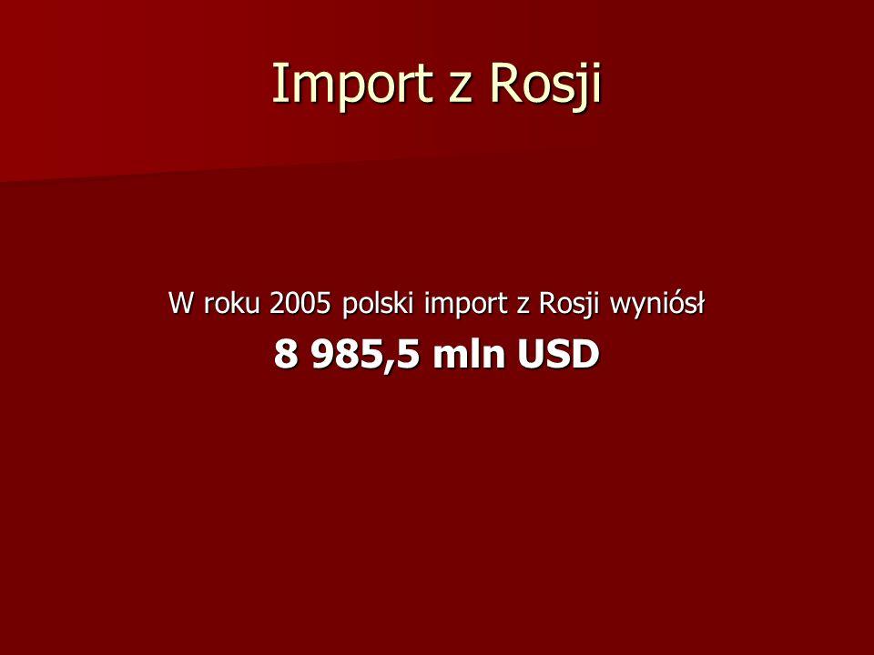 Import z Rosji W roku 2005 polski import z Rosji wyniósł 8 985,5 mln USD