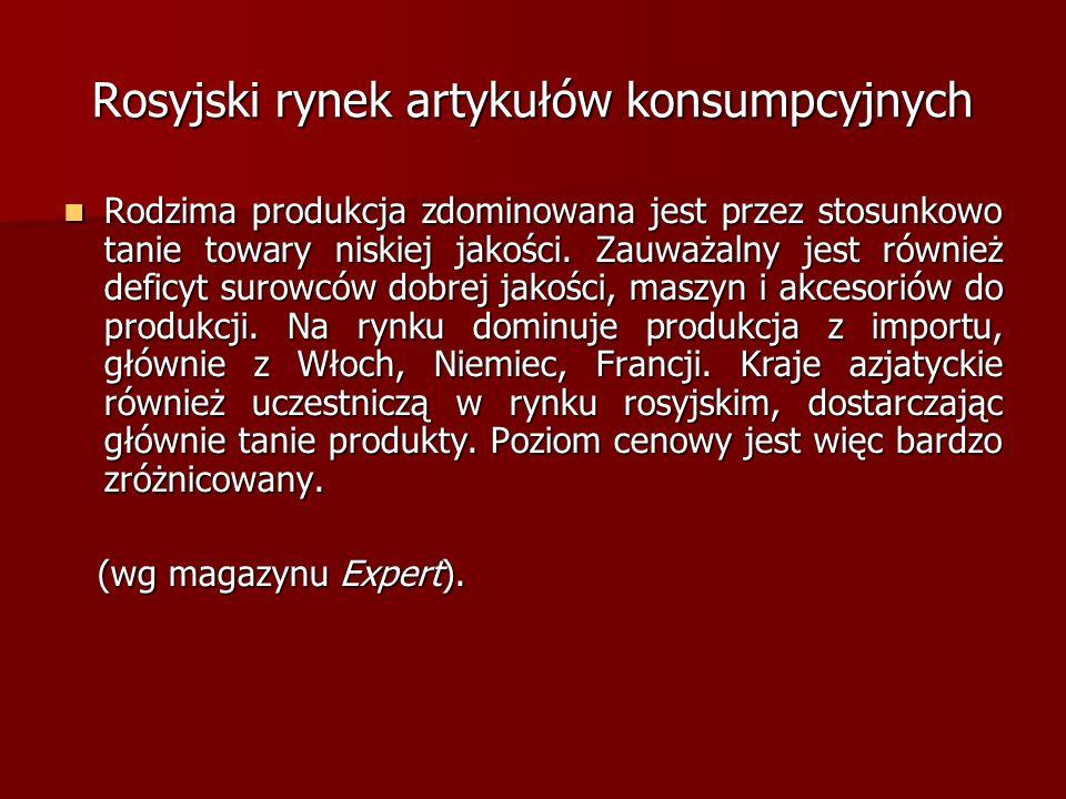 Rosyjski rynek artykułów konsumpcyjnych Rodzima produkcja zdominowana jest przez stosunkowo tanie towary niskiej jakości. Zauważalny jest również defi