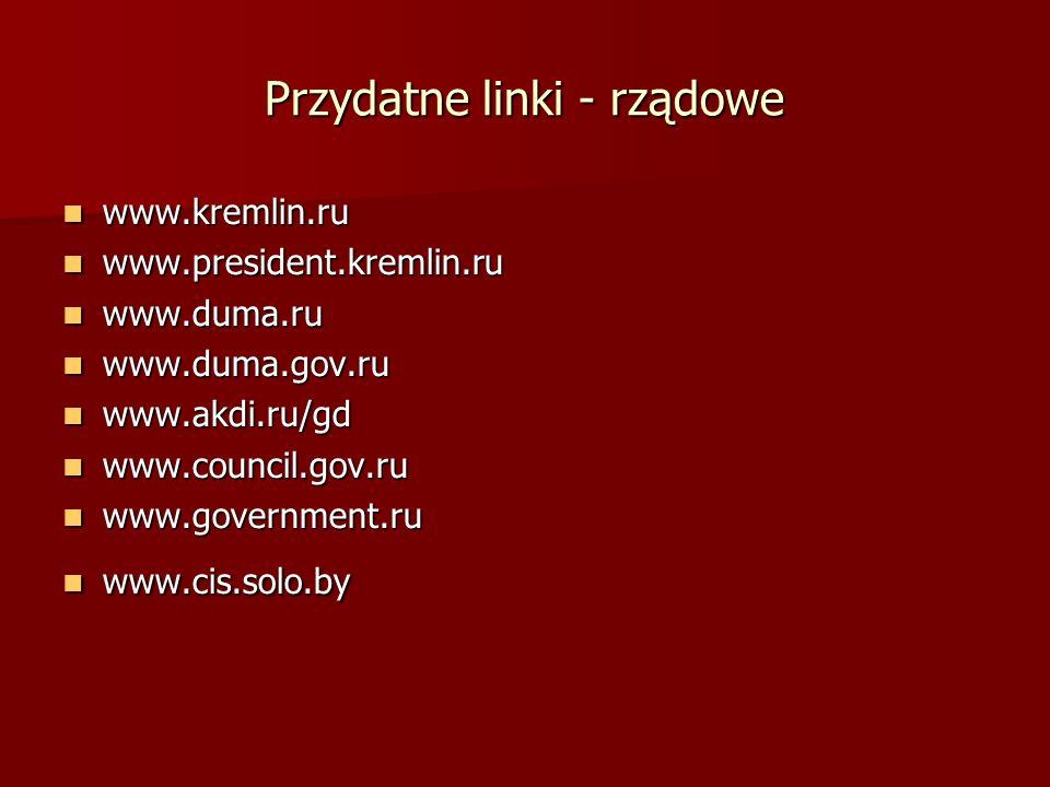 Przydatne linki - rządowe www.kremlin.ru www.kremlin.ru www.president.kremlin.ru www.president.kremlin.ru www.duma.ru www.duma.ru www.duma.gov.ru www.