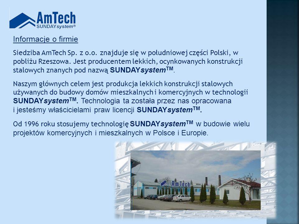 www.amtech.com.pl Firma AmTech posiada: Własny zakład produkcyjny Zespoły montażowe Doświadczonych projektantów