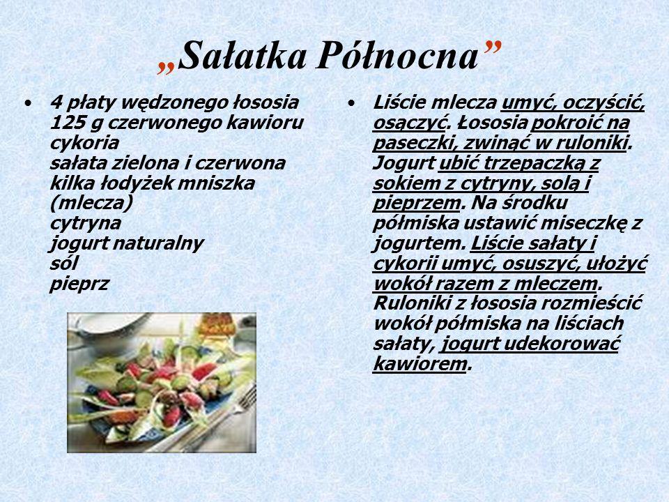 Sałatka Północna 4 płaty wędzonego łososia 125 g czerwonego kawioru cykoria sałata zielona i czerwona kilka łodyżek mniszka (mlecza) cytryna jogurt naturalny sól pieprz Liście mlecza umyć, oczyścić, osączyć.