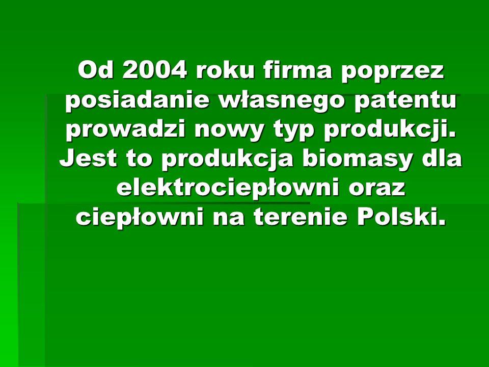 Od 2004 roku firma poprzez posiadanie własnego patentu prowadzi nowy typ produkcji. Jest to produkcja biomasy dla elektrociepłowni oraz ciepłowni na t