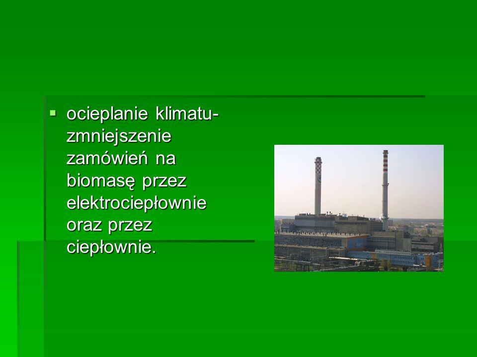 ocieplanie klimatu- zmniejszenie zamówień na biomasę przez elektrociepłownie oraz przez ciepłownie. ocieplanie klimatu- zmniejszenie zamówień na bioma