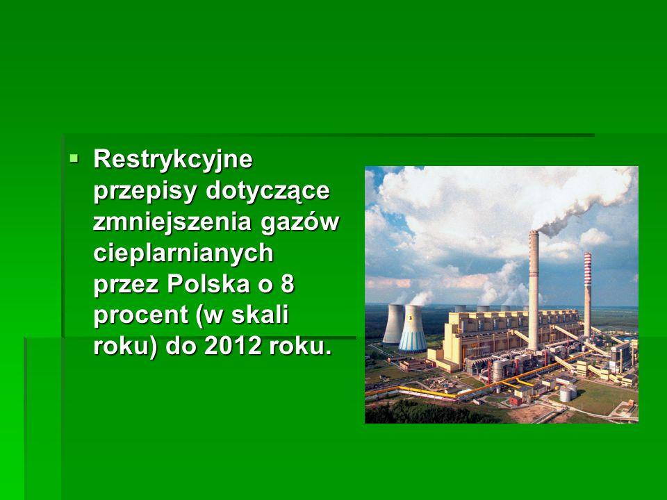 Restrykcyjne przepisy dotyczące zmniejszenia gazów cieplarnianych przez Polska o 8 procent (w skali roku) do 2012 roku. Restrykcyjne przepisy dotycząc