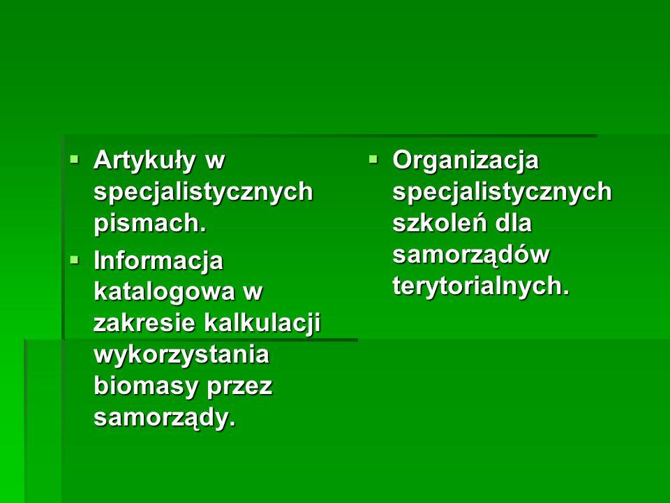 Artykuły w specjalistycznych pismach. Artykuły w specjalistycznych pismach. Informacja katalogowa w zakresie kalkulacji wykorzystania biomasy przez sa