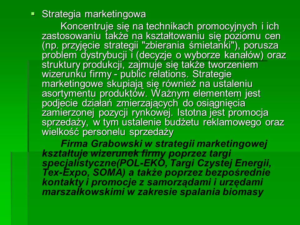 Strategia marketingowa Strategia marketingowa Koncentruje się na technikach promocyjnych i ich zastosowaniu także na kształtowaniu się poziomu cen (np