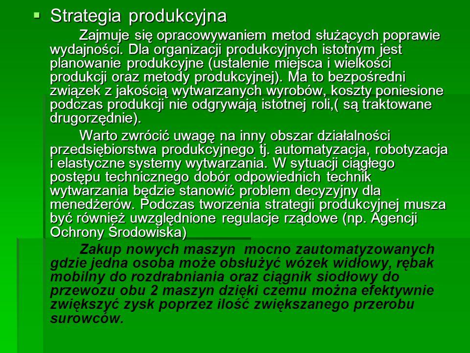 Strategia produkcyjna Strategia produkcyjna Zajmuje się opracowywaniem metod służących poprawie wydajności. Dla organizacji produkcyjnych istotnym jes