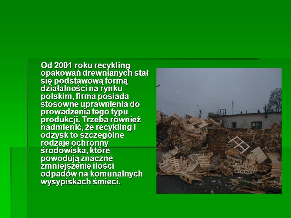 Od 2001 roku recykling opakowań drewnianych stał się podstawową formą działalności na rynku polskim, firma posiada stosowne uprawnienia do prowadzenia