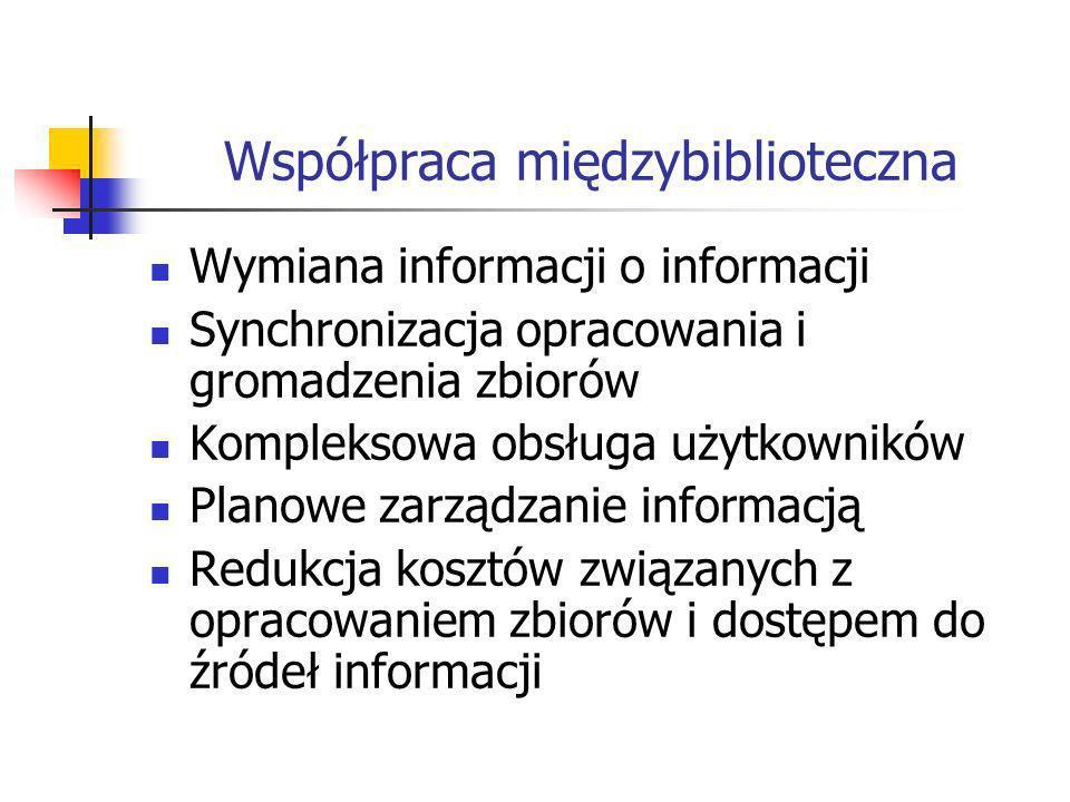 Współpraca międzybiblioteczna Wymiana informacji o informacji Synchronizacja opracowania i gromadzenia zbiorów Kompleksowa obsługa użytkowników Planowe zarządzanie informacją Redukcja kosztów związanych z opracowaniem zbiorów i dostępem do źródeł informacji