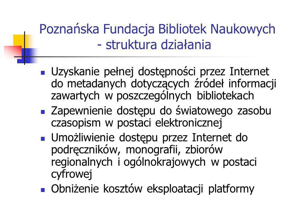 Poznańska Fundacja Bibliotek Naukowych - struktura działania Uzyskanie pełnej dostępności przez Internet do metadanych dotyczących źródeł informacji z