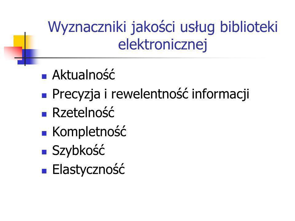 Wyznaczniki jakości usług biblioteki elektronicznej Aktualność Precyzja i rewelentność informacji Rzetelność Kompletność Szybkość Elastyczność
