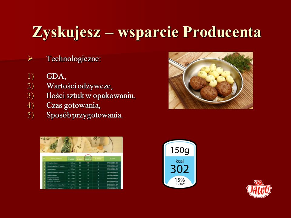 Zyskujesz – wsparcie Producenta Technologiczne: Technologiczne: 1)GDA, 2)Wartości odżywcze, 3)Ilości sztuk w opakowaniu, 4)Czas gotowania, 5)Sposób pr