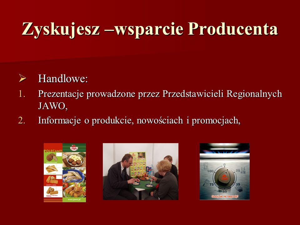 Zyskujesz –wsparcie Producenta Handlowe: Handlowe: 1.Prezentacje prowadzone przez Przedstawicieli Regionalnych JAWO, 2.Informacje o produkcie, nowości