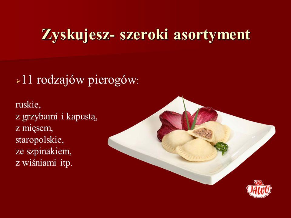 Zyskujesz- szeroki asortyment 11 rodzajów pierogów : ruskie, z grzybami i kapustą, z mięsem, staropolskie, ze szpinakiem, z wiśniami itp.