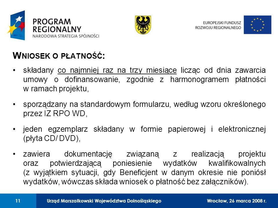 Urząd Marszałkowski Województwa Dolnośląskiego27 lutego 2008 r. 11 01 Urząd Marszałkowski Województwa Dolnośląskiego11Wrocław, 26 marca 2008 r. W NIOS