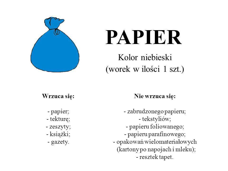 Kolor niebieski (worek w ilości 1 szt.) PAPIER Wrzuca się: - papier; - tekturę; - zeszyty; - książki; - gazety. Nie wrzuca się: - zabrudzonego papieru