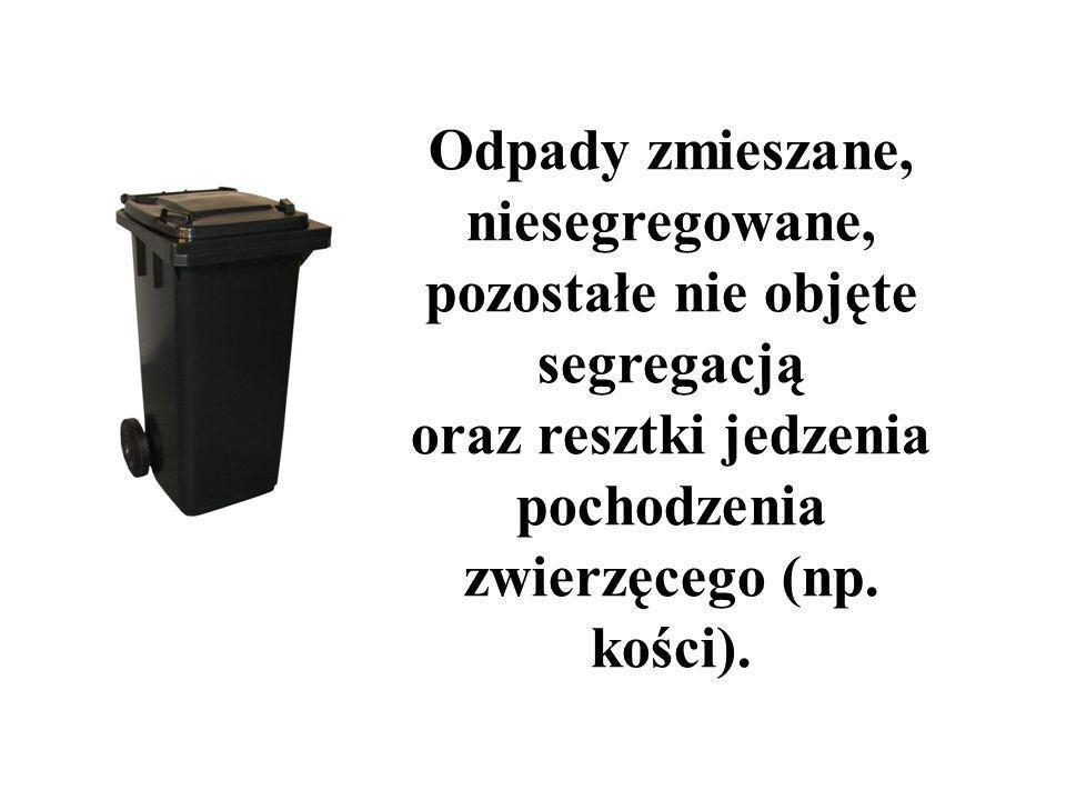 Odpady zmieszane, niesegregowane, pozostałe nie objęte segregacją oraz resztki jedzenia pochodzenia zwierzęcego (np. kości).