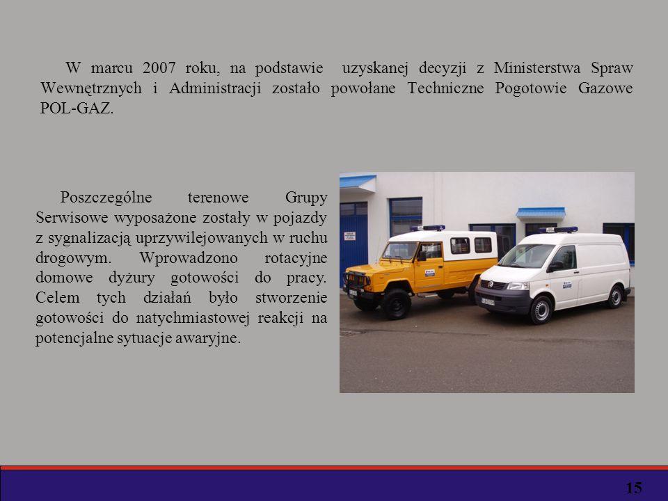 W marcu 2007 roku, na podstawie uzyskanej decyzji z Ministerstwa Spraw Wewnętrznych i Administracji zostało powołane Techniczne Pogotowie Gazowe POL-GAZ.