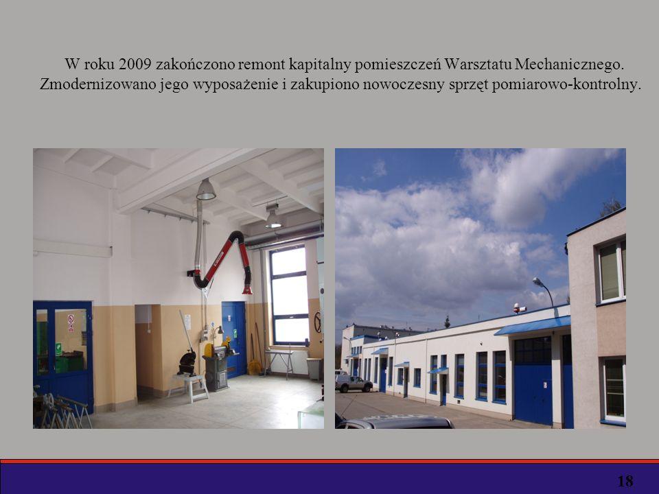 W roku 2009 zakończono remont kapitalny pomieszczeń Warsztatu Mechanicznego.