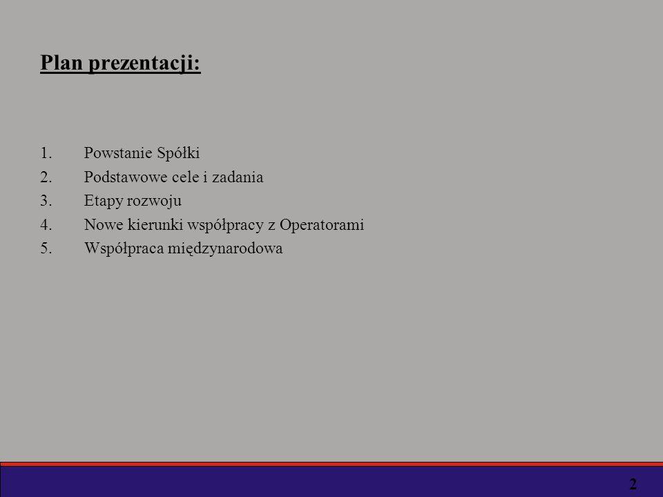 Plan prezentacji: 1.Powstanie Spółki 2.Podstawowe cele i zadania 3.Etapy rozwoju 4.Nowe kierunki współpracy z Operatorami 5.Współpraca międzynarodowa 2