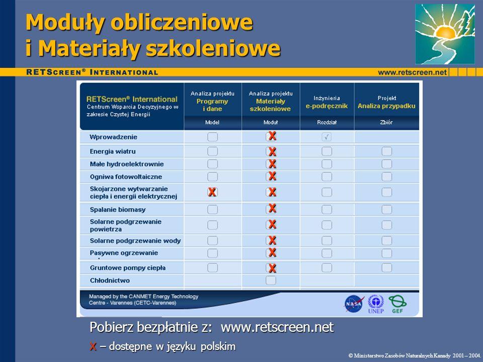 Moduły obliczeniowe i Materiały szkoleniowe Pobierz bezpłatnie z: www.retscreen.net x – dostępne w języku polskim © Ministerstwo Zasobów Naturalnych K