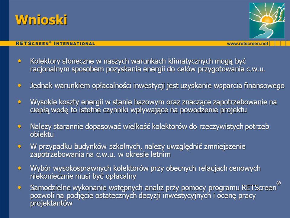 Wnioski Kolektory słoneczne w naszych warunkach klimatycznych mogą być racjonalnym sposobem pozyskania energii do celów przygotowania c.w.u. Kolektory