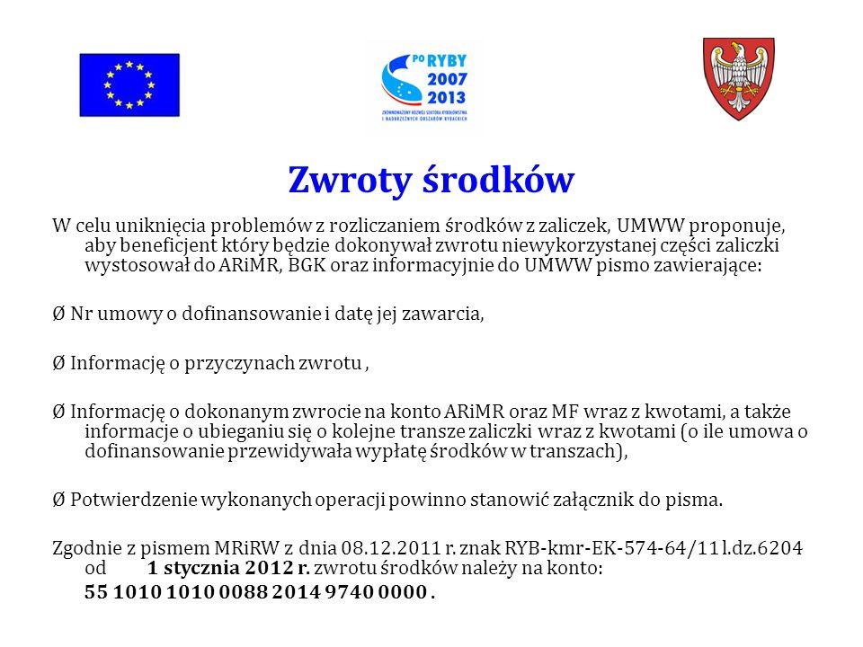 W celu uniknięcia problemów z rozliczaniem środków z zaliczek, UMWW proponuje, aby beneficjent który będzie dokonywał zwrotu niewykorzystanej części zaliczki wystosował do ARiMR, BGK oraz informacyjnie do UMWW pismo zawierające: Ø Nr umowy o dofinansowanie i datę jej zawarcia, Ø Informację o przyczynach zwrotu, Ø Informację o dokonanym zwrocie na konto ARiMR oraz MF wraz z kwotami, a także informacje o ubieganiu się o kolejne transze zaliczki wraz z kwotami (o ile umowa o dofinansowanie przewidywała wypłatę środków w transzach), Ø Potwierdzenie wykonanych operacji powinno stanowić załącznik do pisma.