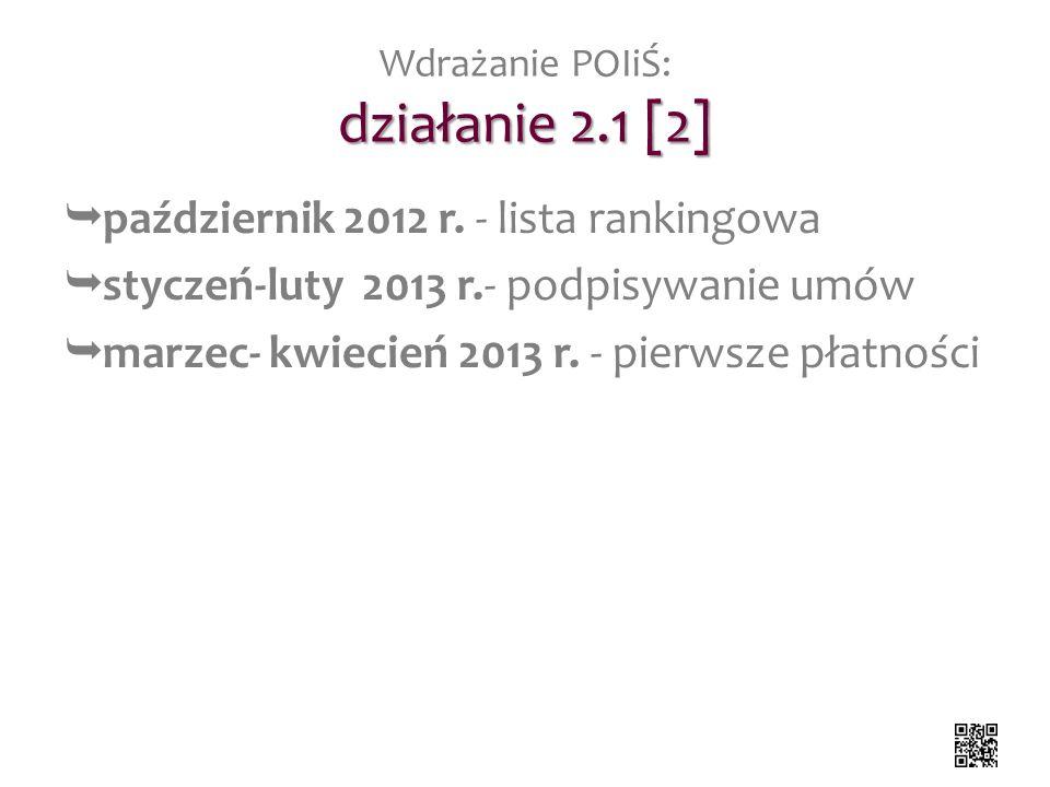 działanie 2.1 [2] Wdrażanie POIiŚ: działanie 2.1 [2] październik 2012 r. - lista rankingowa styczeń-luty 2013 r.- podpisywanie umów marzec- kwiecień 2