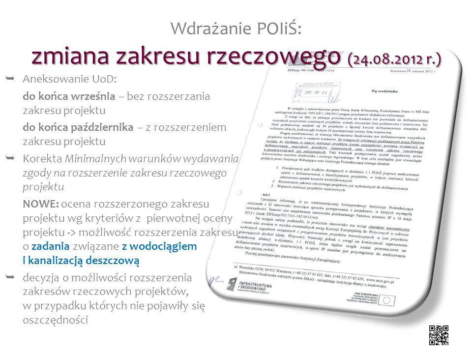 zmiana zakresu rzeczowego (24.08.2012 r.) Wdrażanie POIiŚ: zmiana zakresu rzeczowego (24.08.2012 r.) Aneksowanie UoD: do końca września – bez rozszerz