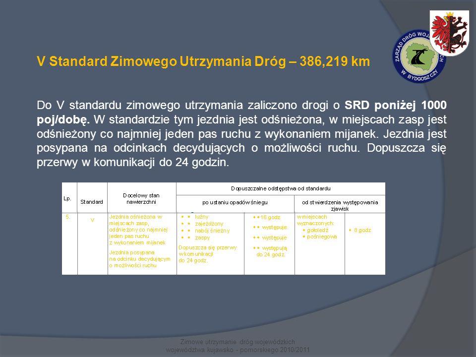 Zimowe utrzymanie dróg wojewódzkich województwa kujawsko - pomorskiego 2010/2011 V Standard Zimowego Utrzymania Dróg – 386,219 km Do V standardu zimowego utrzymania zaliczono drogi o SRD poniżej 1000 poj/dobę.