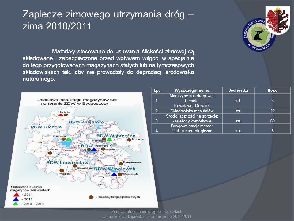 Zimowe utrzymanie dróg wojewódzkich województwa kujawsko - pomorskiego 2010/2011 Zaplecze zimowego utrzymania dróg – zima 2010/2011 Materiały stosowan