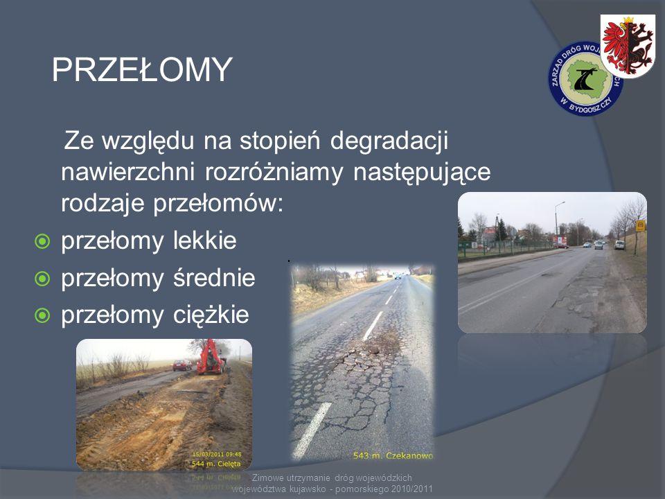 Zimowe utrzymanie dróg wojewódzkich województwa kujawsko - pomorskiego 2010/2011 PRZEŁOMY Ze względu na stopień degradacji nawierzchni rozróżniamy następujące rodzaje przełomów: przełomy lekkie przełomy średnie przełomy ciężkie