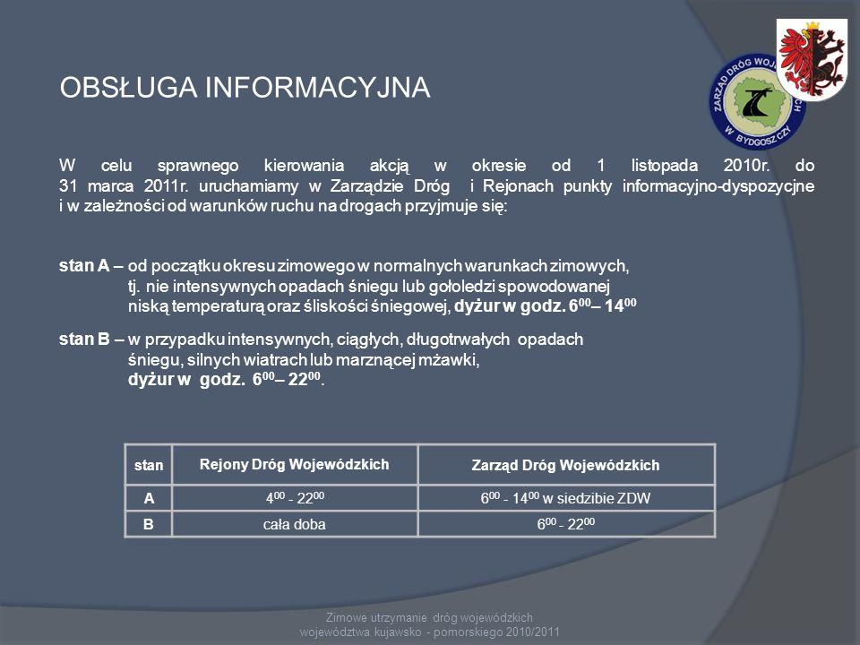 OBSŁUGA INFORMACYJNA W celu sprawnego kierowania akcją w okresie od 1 listopada 2010r. do 31 marca 2011r. uruchamiamy w Zarządzie Dróg i Rejonach punk