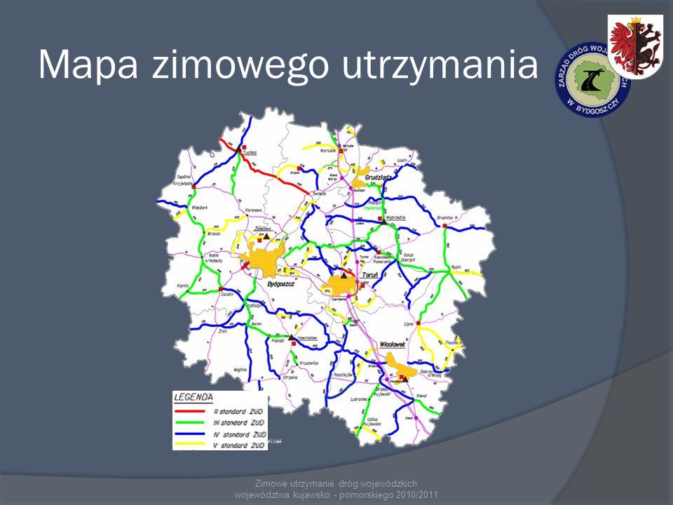 Mapa zimowego utrzymania Zimowe utrzymanie dróg wojewódzkich województwa kujawsko - pomorskiego 2010/2011