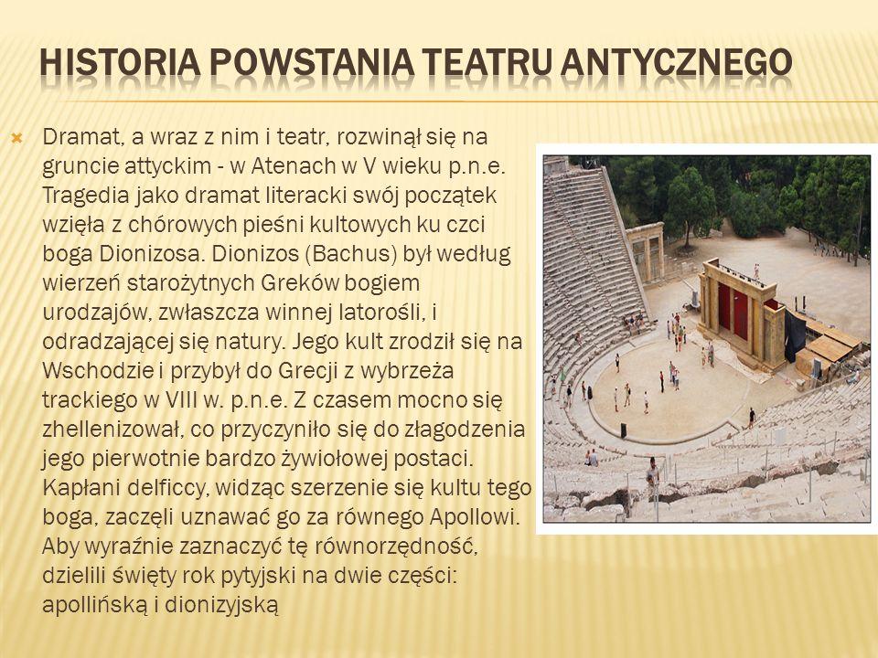 Dramat, a wraz z nim i teatr, rozwinął się na gruncie attyckim - w Atenach w V wieku p.n.e.