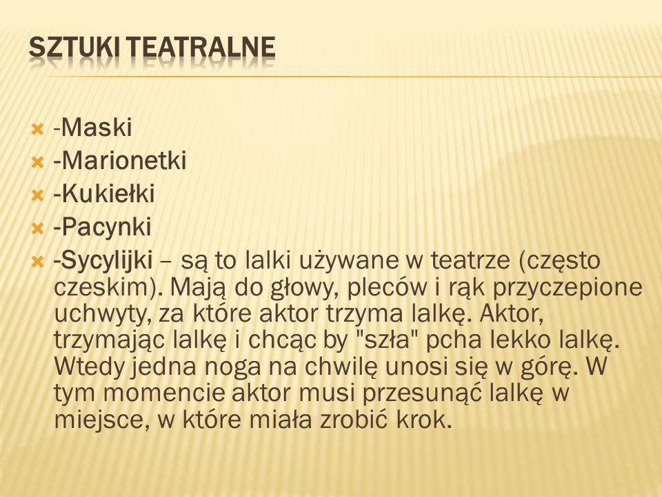 -Maski -Marionetki -Kukiełki -Pacynki -Sycylijki – są to lalki używane w teatrze (często czeskim).