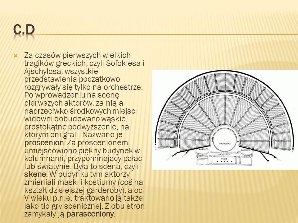 Za czasów pierwszych wielkich tragików greckich, czyli Sofoklesa i Ajschylosa, wszystkie przedstawienia początkowo rozgrywały się tylko na orchestrze.
