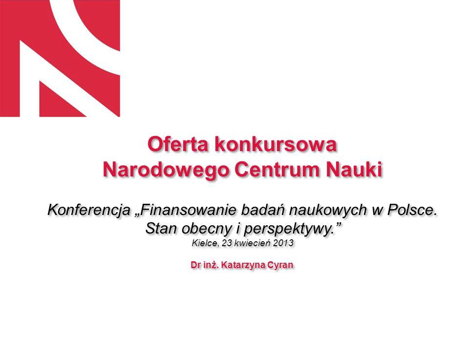 Oferta konkursowa Narodowego Centrum Nauki Konferencja Finansowanie badań naukowych w Polsce. Stan obecny i perspektywy. Kielce, 23 kwiecień 2013 Dr i