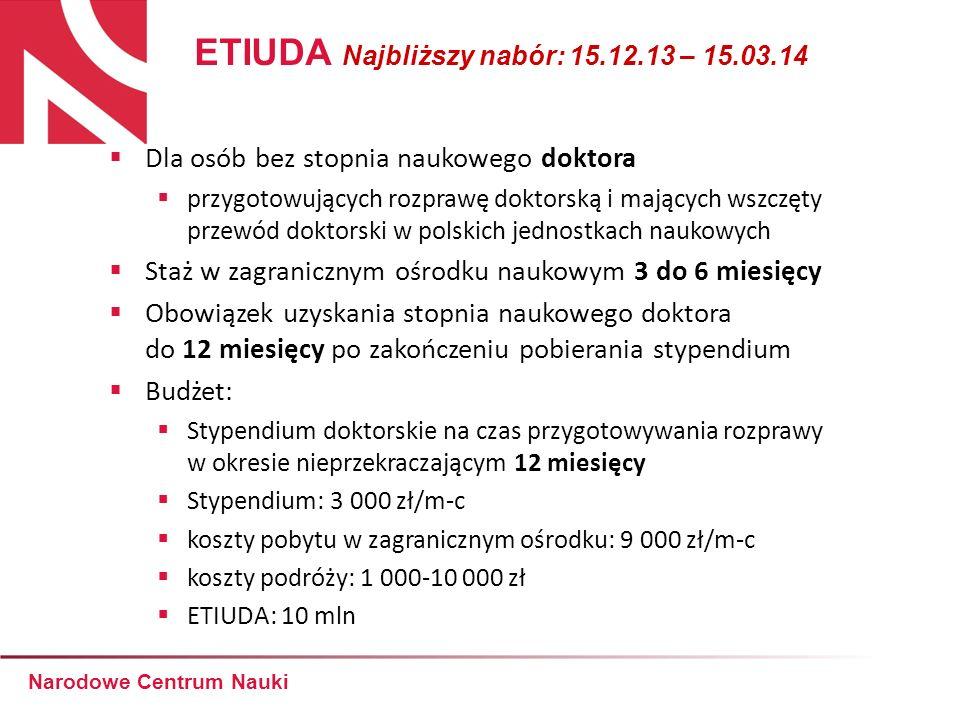 Dla osób bez stopnia naukowego doktora przygotowujących rozprawę doktorską i mających wszczęty przewód doktorski w polskich jednostkach naukowych Staż
