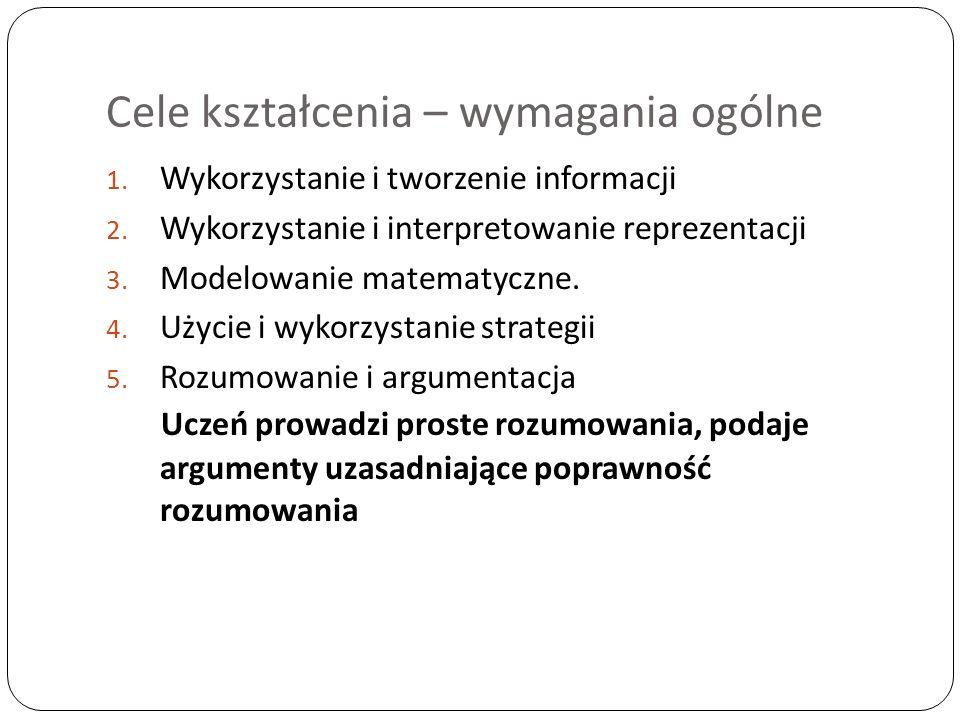 Cele kształcenia – wymagania ogólne 1.Wykorzystanie i tworzenie informacji 2.