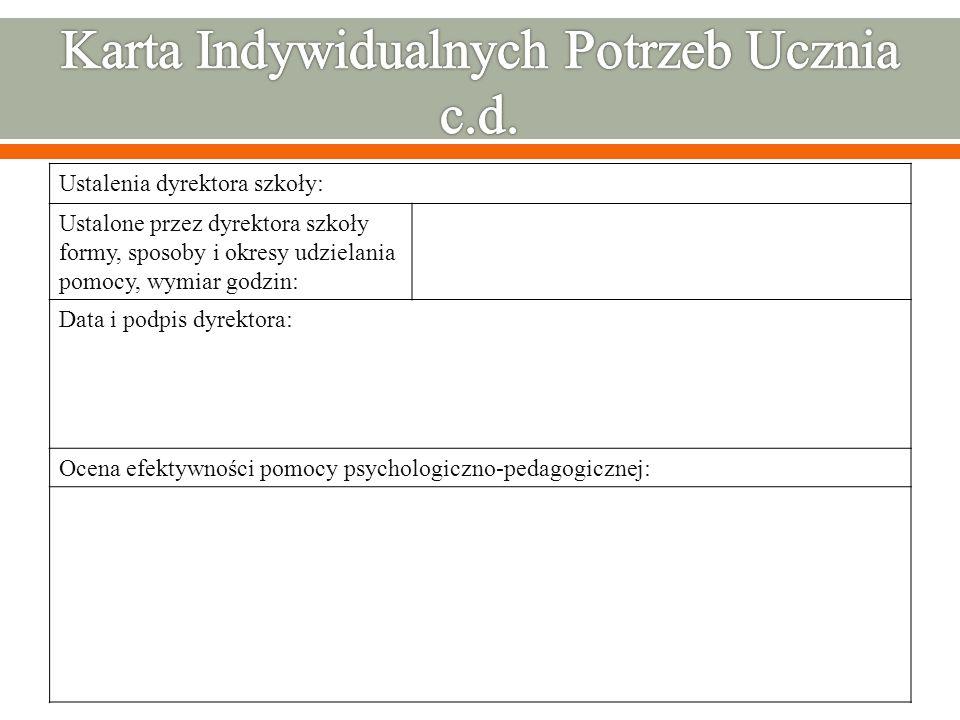 Ustalenia dyrektora szkoły: Ustalone przez dyrektora szkoły formy, sposoby i okresy udzielania pomocy, wymiar godzin: Data i podpis dyrektora: Ocena e