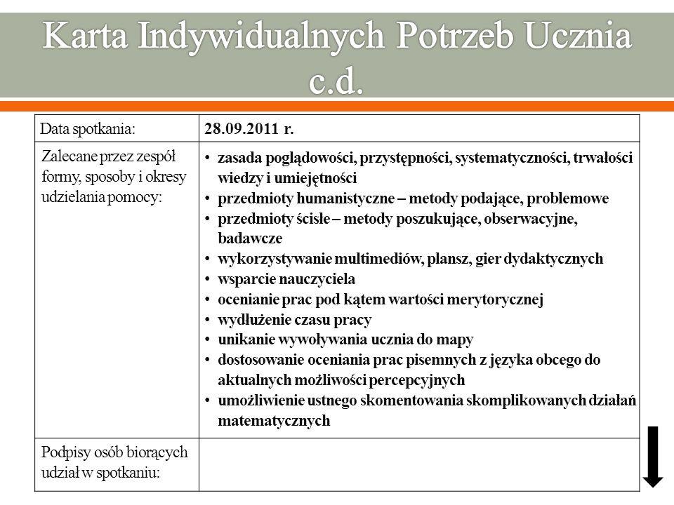 Data spotkania: Zalecane przez zespół formy, sposoby i okresy udzielania pomocy: Podpisy osób biorących udział w spotkaniu: 28.09.2011 r. zasada poglą