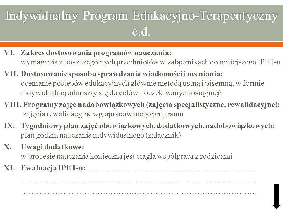 VI. Zakres dostosowania programów nauczania: wymagania z poszczególnych przedmiotów w załącznikach do niniejszego IPET-u VII.Dostosowanie sposobu spra
