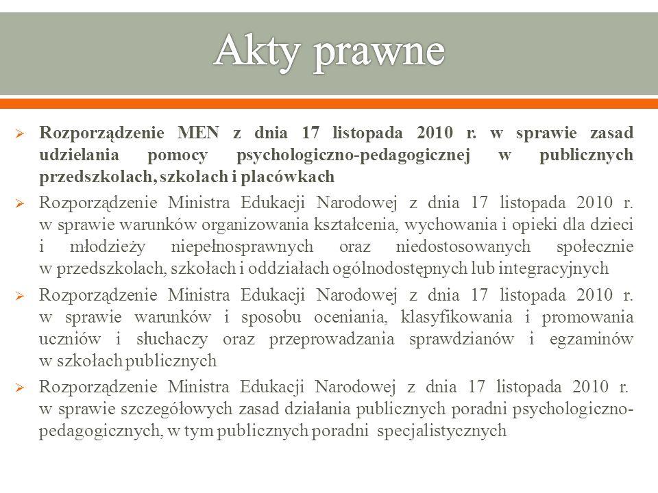 Rozporządzenie MEN z dnia 17 listopada 2010 r. w sprawie zasad udzielania pomocy psychologiczno-pedagogicznej w publicznych przedszkolach, szkołach i