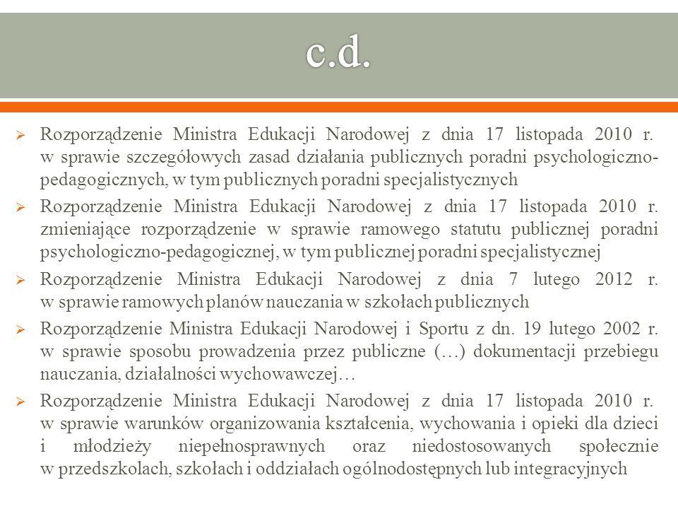 Rozporządzenie Ministra Edukacji Narodowej z dnia 17 listopada 2010 r. zmieniające rozporządzenie w sprawie ramowego statutu publicznej poradni psycho